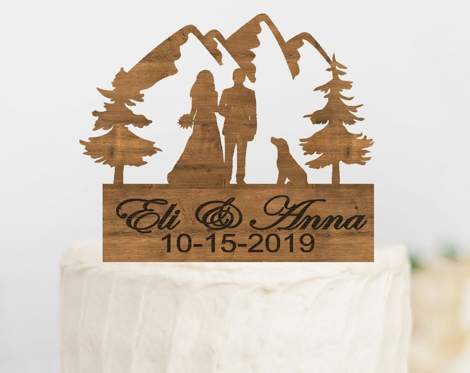 CUSTOM BRIDE GROOM Couple with Dog Wood Mountain Wedding Cake Topper / Mountain outdoor bride groom cake topper / Wedding cake topper