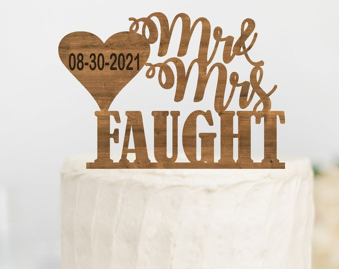 PERSONALIZED WEDDING CAKE Name Topper Wood /  Custom Wedding Cake topper Party decor / Mr and Mrs Wedding Cake Topper