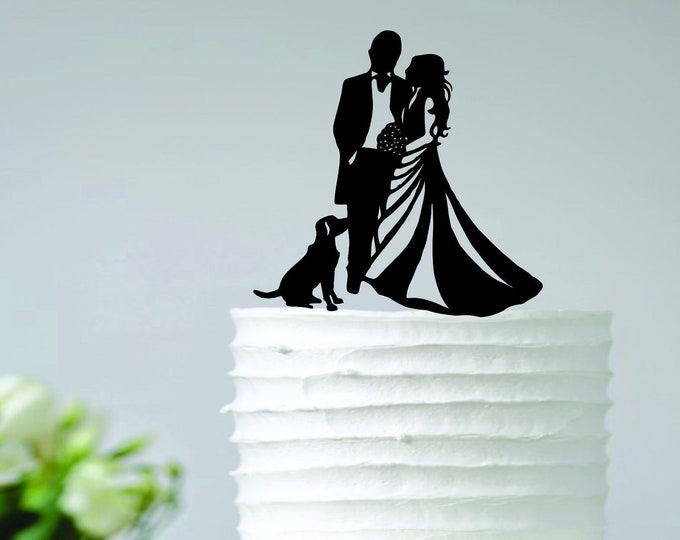COUPLE DOG Wood Wedding Cake Topper / Dog cake topper for wedding