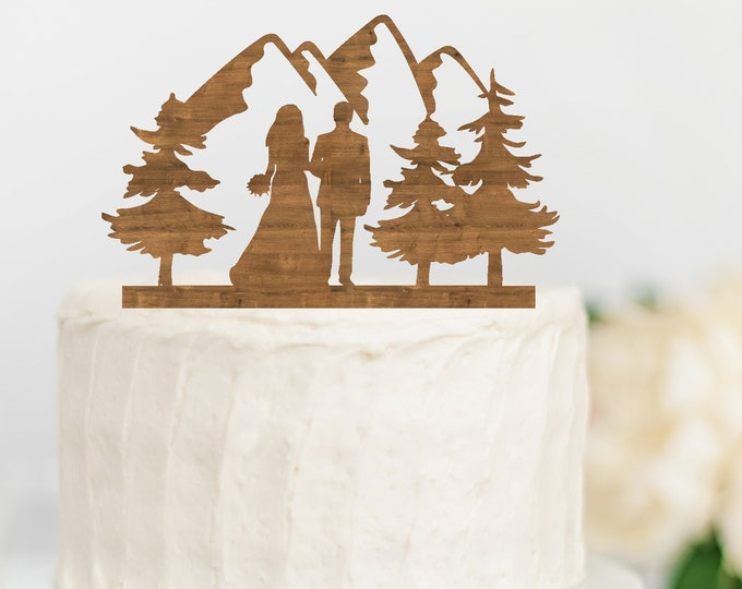 BRIDE GROOM COUPLE Mountain Wood Wedding Cake Topper / outdoor bride groom cake topper / Mountain Cake Topper