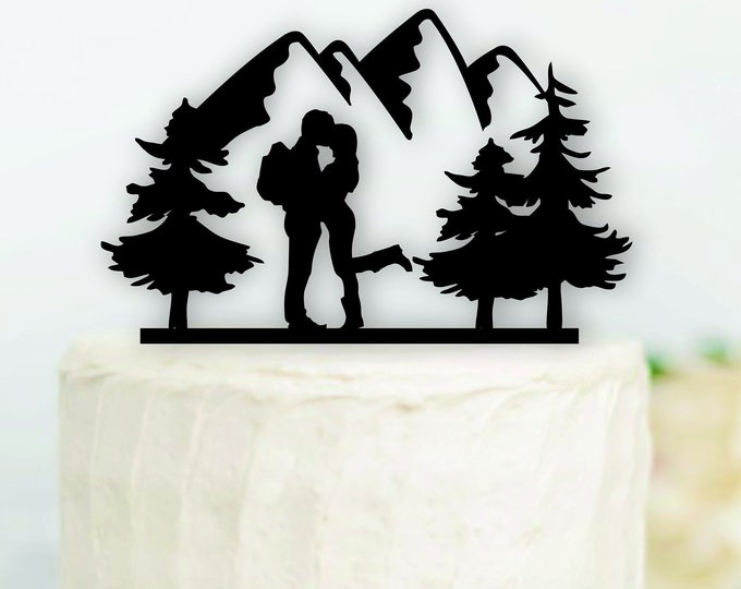 HIKING COUPLE Wood Wedding Cake Topper / Backpacking outdoor bride groom cake topper / camping cake topper