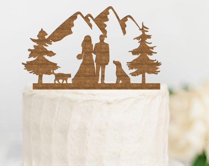BRIDE GROOM COUPLE with Dog Cat Mountain Wood Wedding Cake Topper / outdoor bride groom cake topper / Mountain Cake Topper