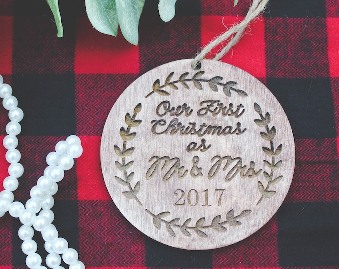 OUR FIRST CHRISTMAS Mr and Mrs Ornament - Free Shipping / Custom orders Welcome / Couples Ornament / Bride Groom Ornament
