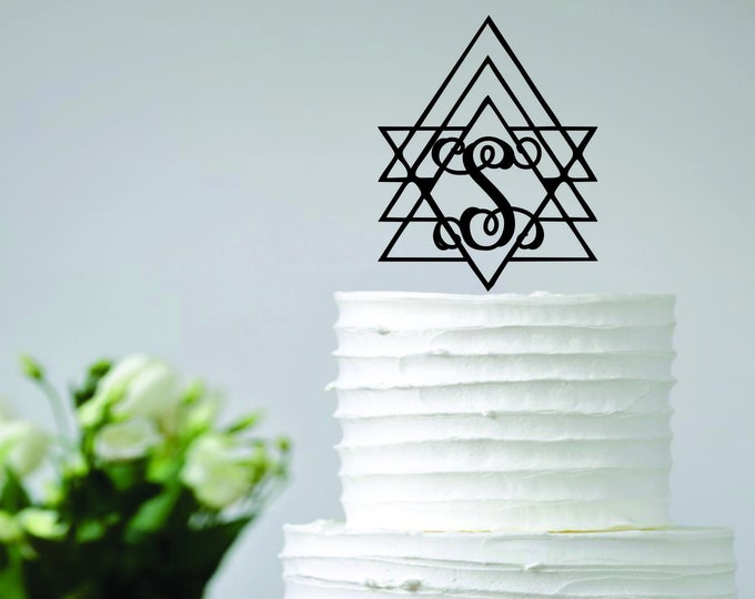 GEOMETRIC BOHO INITIAL Wood Wedding Cake Topper / Monogram Cake Topper