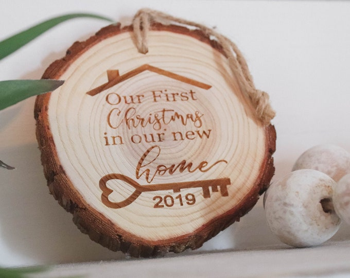 NEW HOME Tree Slice CHRISTMAS Ornament / Free Shipping / First Christmas in new home Ornament / Wedding Gift / Christmas Present / Realtor