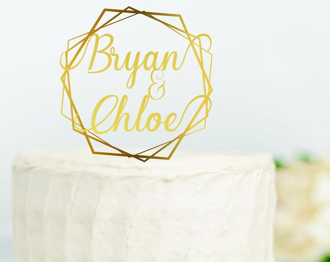 BOHO PERSONALIZED NAME Wedding Wood Cake Topper / Geometric Gold Wedding Cake Topper / Birthday Cake Topper / Boho cake topper decor
