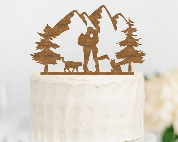 HIKING COUPLE with CATS Wood Wedding Cake Topper / Backpacking outdoor bride groom cake topper / camping cake topper