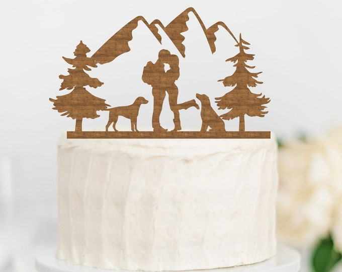 HIKING COUPLE with DOGS Wood Wedding Cake Topper / Backpacking outdoor bride groom cake topper / camping cake topper