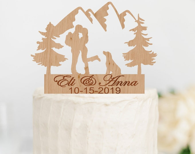 PERSONALIZED HIKING Couple with DOG Wood Wedding Cake Topper / Backpacking outdoor bride groom cake topper / camping cake topper