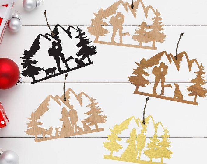 HIKING COUPLE with CUSTOMIZABLE Dogs Wood Ornament / Backpacking outdoor bride groom Ornament / camping gift / Christmas Gift