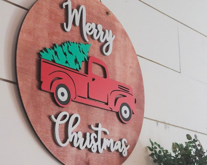 MERRY CHRISTMAS TRUCK Wood Sign / Ships in 3-5 Business Days / Christmas decor sign