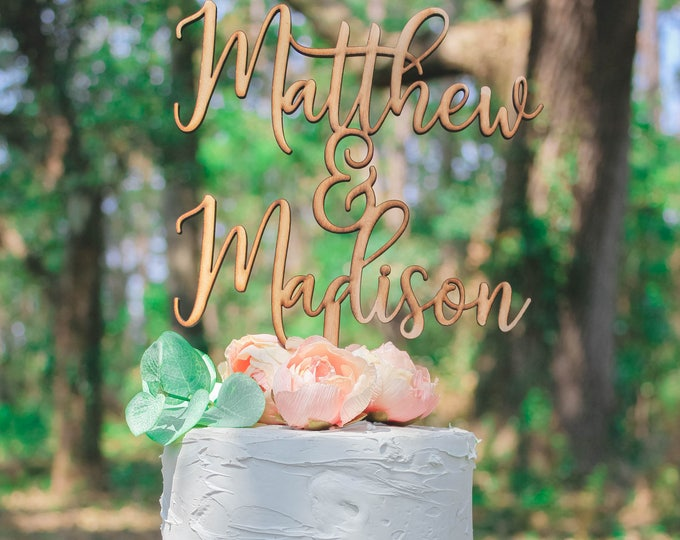 CUSTOM CAKE NAME Topper / Ships in 3-5 Business Days / Other colors available / Rose gold Wedding Cake Topper / Anniversary Cake Topper