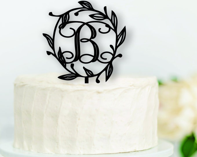 WREATH INITIAL WOOD Cake Topper / Letter Wedding Cake Topper / Birthday Cake Topper / Boho cake topper decor