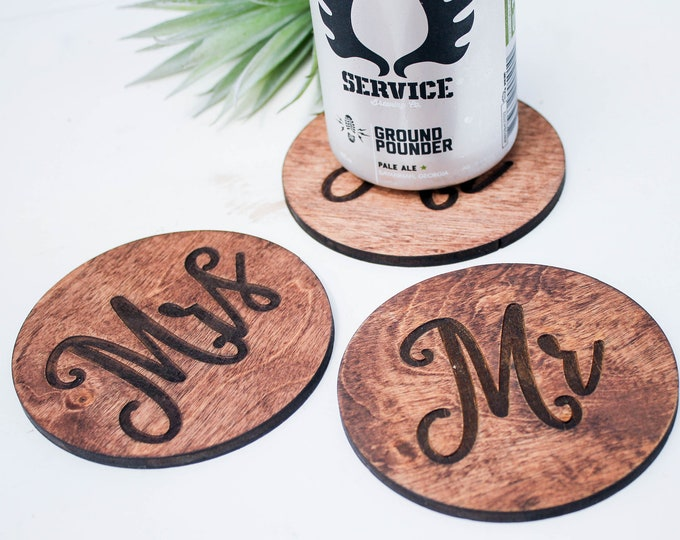 MR MRS Wood COASTERS / Wedding gift / Custom orders Welcome