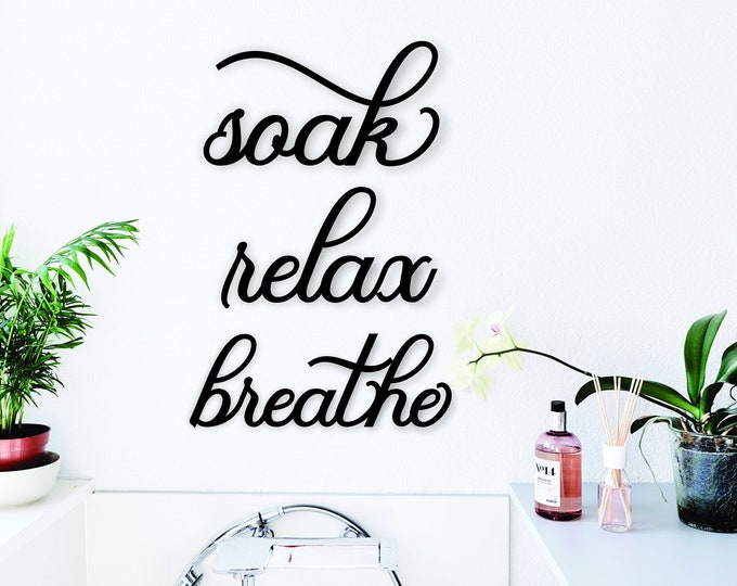SOAK RELAX BREATHE set of 3 Wood bathroom Signs  / Modern Bathroom Decor / Bathtub Shower Signs