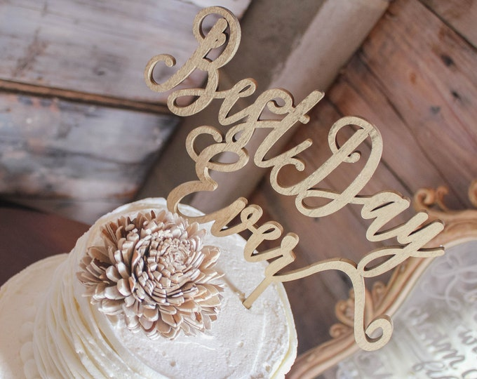 BEST DAY EVER Cake Topper / Ships in 3-5 Business Days / Other colors available / Rose gold Wedding Cake Topper / Anniversary Cake Topper