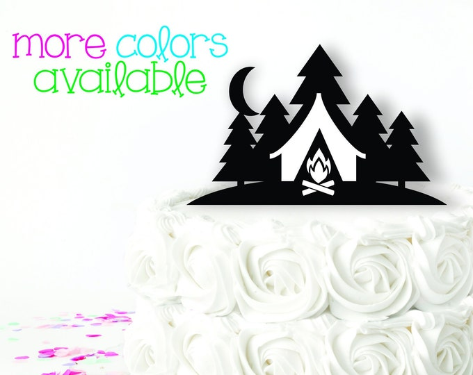 Camping Hiking wedding cake topper Bride and Groom outdoor wedding Mountain Wedding Cake Topper with trees
