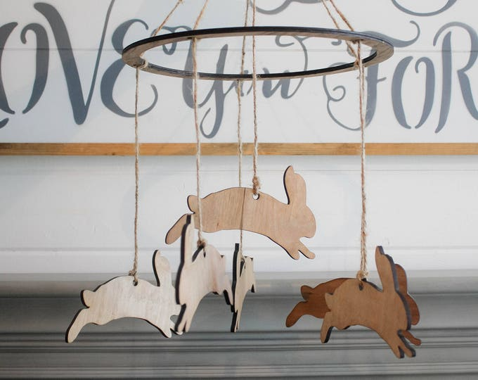 Woodland Bunny Mobile Wood / Ships in 3-5 Business Days / Nursery Crib Mobile