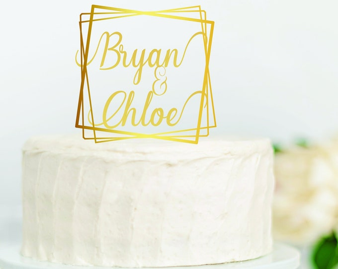BOHO PERSONALIZED NAME Wedding Wood Cake Topper / Geometric Square Gold Wedding Cake Topper / Birthday Cake Topper / Boho cake topper decor