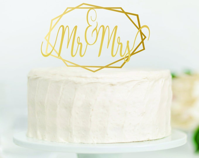 MR MRS WOOD Wedding Cake Topper / Bride Groom cake topper / boho wedding cake topper decor