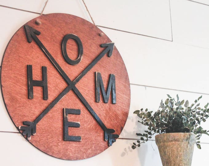 HOME ARROW Wood Sign Wall Hanging / Farmhouse Sign Decor / Arrow Home Wall Sign