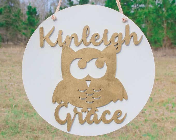 "16"" CUSTOM OWL round WOOD Name Sign / Ships in 3-5 Business Days / Nursery Decor"