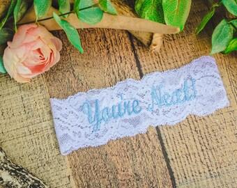 YOURE NEXT ™ Garter / light blue garter / Wedding Garter / lace garter