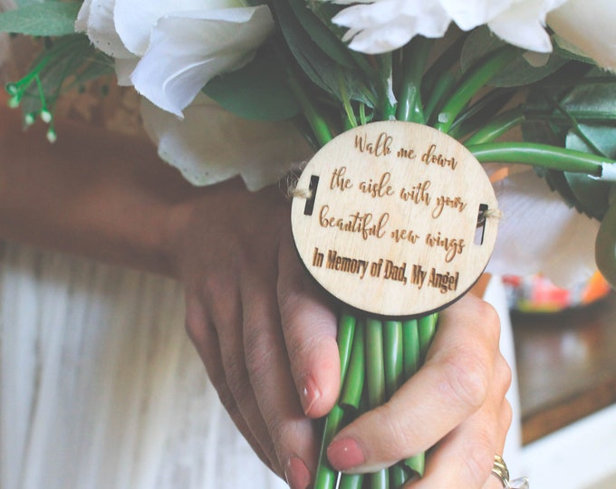 In Memory of Dad BRIDAL BOUQUET MEDALLION / Bouquet Charm / Personalized wedding bouquet medallion