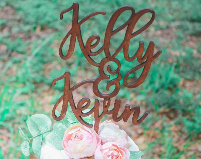 Rustic Wedding Cake Name Topper / Ships in 3-5 Business Days / Other colors available