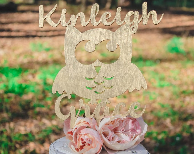 OWL NAME CAKE Topper wood / Girls Birthday / Owl Birthday / Other colors available