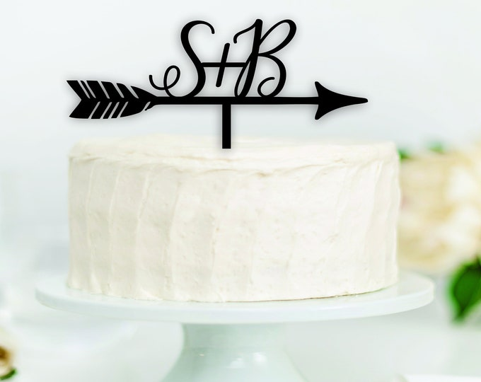 ARROW BOHO INITIAL Wood Wedding Cake Topper / Monogram Cake Topper / Feather arrow cake top