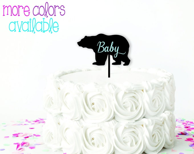 Bear Cake Topper Baby Shower Cake topper / Boy or Girl Cake Topper / Wood Cake Topper / Other colors available
