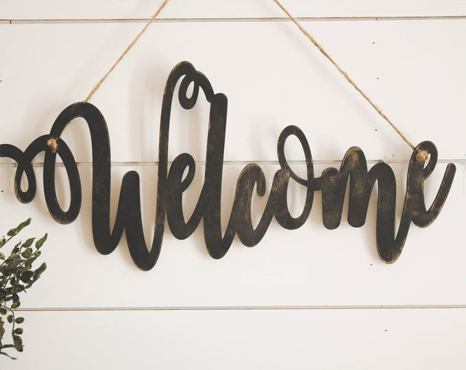 Welcome Sign Wood/ Home Decor / Door Hanger / House Warming Gift / Wedding Gift