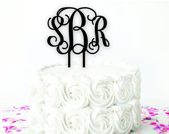MONOGRAMMED WOOD CAKE Topper / Wedding Cake Topper / Birthday Cake Topper
