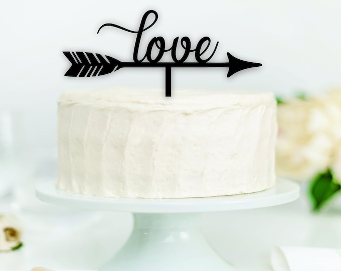 LOVE FEATHER ARROW Wood Wedding Cake Topper / Bride Groom cake topper / boho wedding cake topper decor