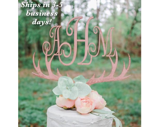MONOGRAM ANTLER CAKE Topper / Ships in 3-5 Business Days / Other colors available / Rose gold Wedding Cake Topper / Anniversary Cake Topper