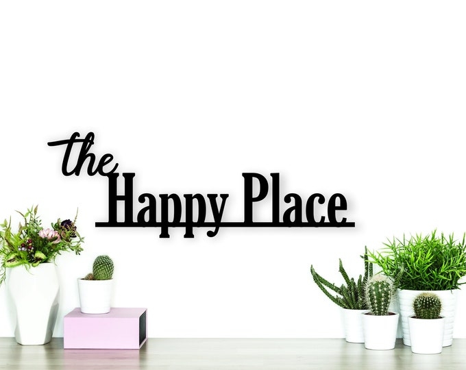 HAPPY PLACE WOOD home decor sign / Our happy place decor / family home sign