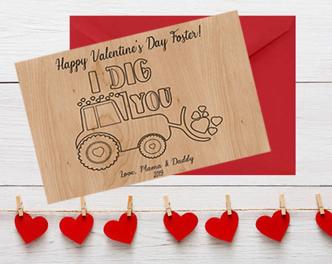 PERSONALIZED Wood Valentines Day Card Tractor kids valentines day card