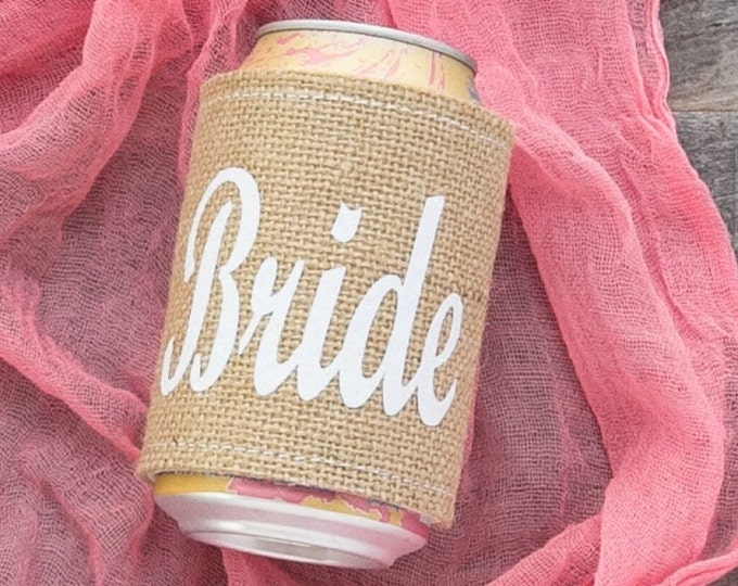 BURLAP BRIDE CAN Coolers / Bride Groom / Burlap Cooler / Wedding Gift