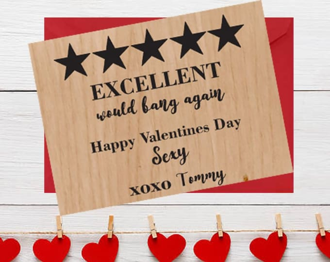 Funny Wood Valentines Day Card Excellent would bang again five stars greeting card