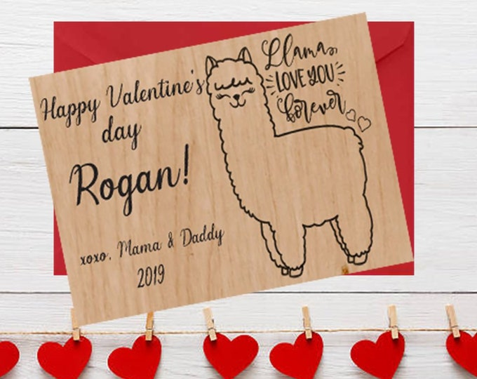 PERSONALIZED LLAMA Wood Valentines Day Card llama kids valentines greeting card