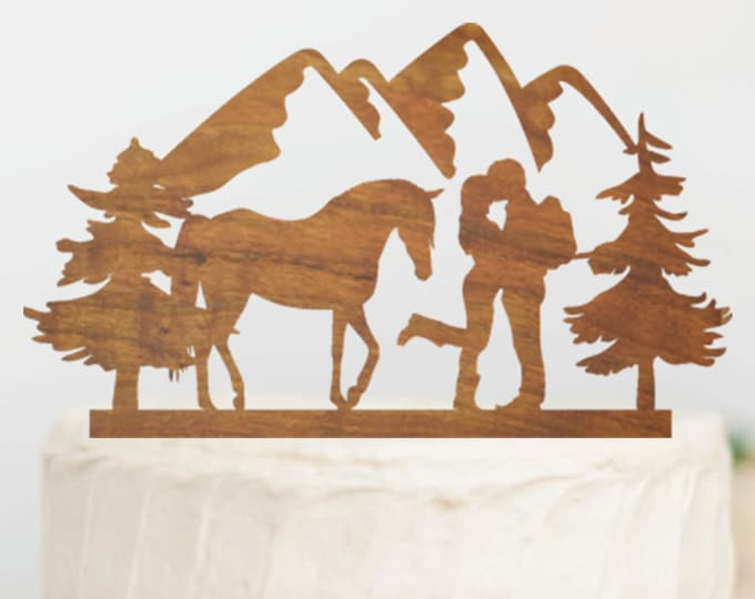 HIKING COUPLE with HORSE Wood Wedding Cake Topper / Equestrian Cake topper / Horse Back Riding / Backpacking outdoor bride groom cake topper