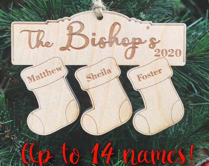 Personalized Wood Family Name Christmas Ornament / Rustic Ornaments / Farmhouse Christmas Ornaments