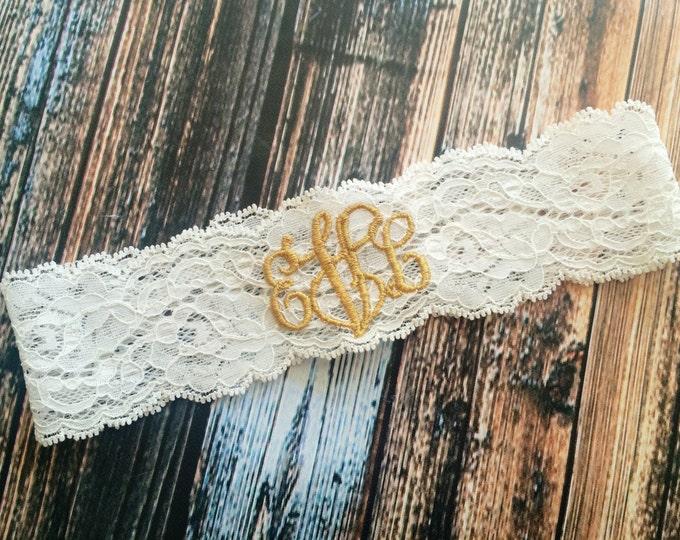 METALLIC GOLD MONOGRAMMED Garter / Keepsake only / Gold lace garter