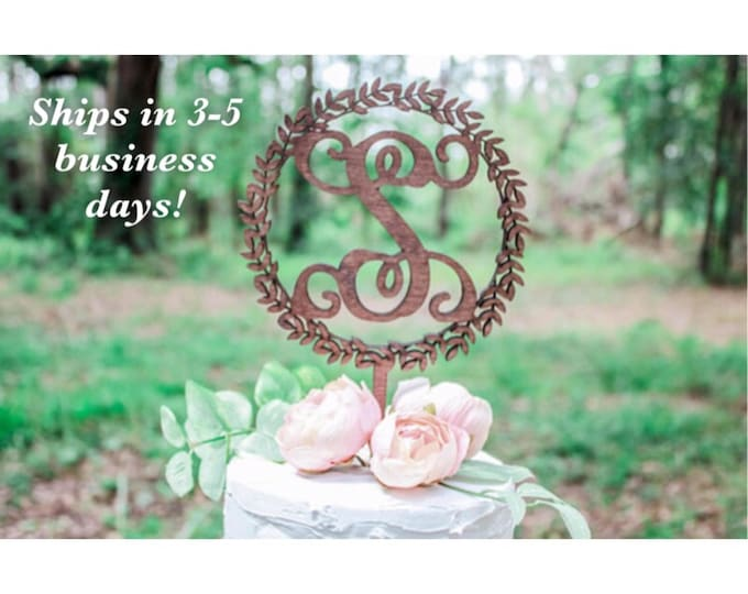 INITIALS CAKE Topper / Ships in 3-5 Business Days / Other colors available / Rose gold Wedding Cake Topper / Anniversary Cake Topper