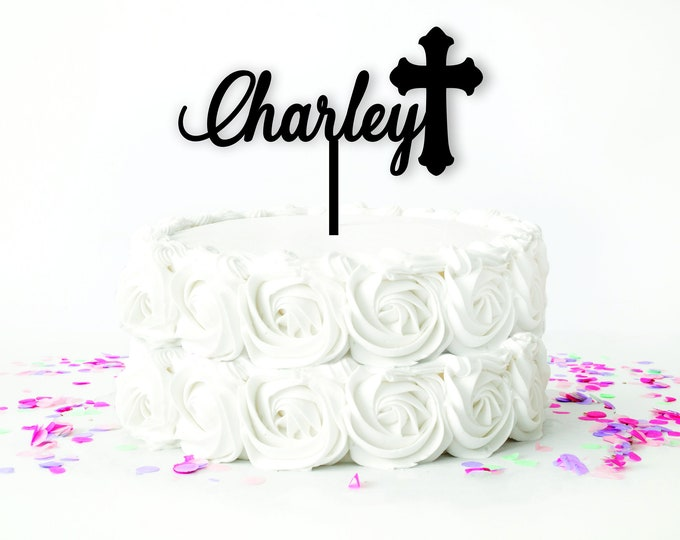 BAPTISM NAME CAKE Topper Wood /  First Communion cake topper / Personalized Christian Cake Top