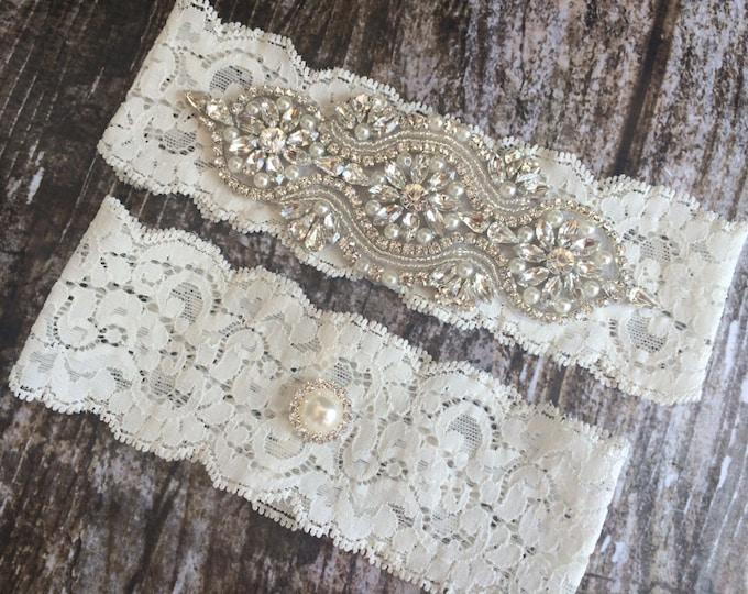 PEARL RHINESTONE GARTER / Vintage Inspired Wedding Garter / Lace Bridal Garter / Shabby Chic
