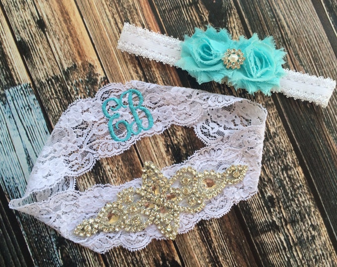 MONOGRAMMED RHINESTONE GARTER Set / Something Blue wedding garter / lace garter set / Vintage Inspired