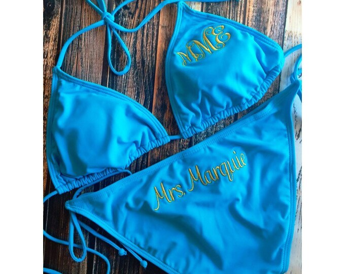 MONOGRAMMED BRIDAL BIKINI / Just Married Honeymoon Swim Suit / Bridal shower gift / Bikini