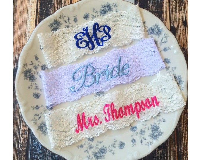 CUSTOM MONOGRAMMED GARTER / lace garter / Something Blue / vintage garter